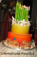 Hawaiian Themed Two Layered Birthday Cake