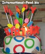 Birthday Cake with fondant balloons and happy birthday