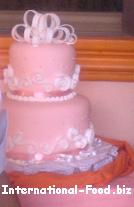 Two-tiered Peach Wedding Cake